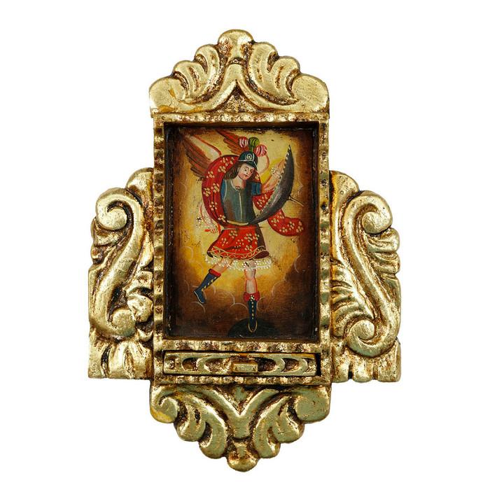 Archangel Michael Peru Retablo Folk Art Painting Handcarved Wood Altarpiece