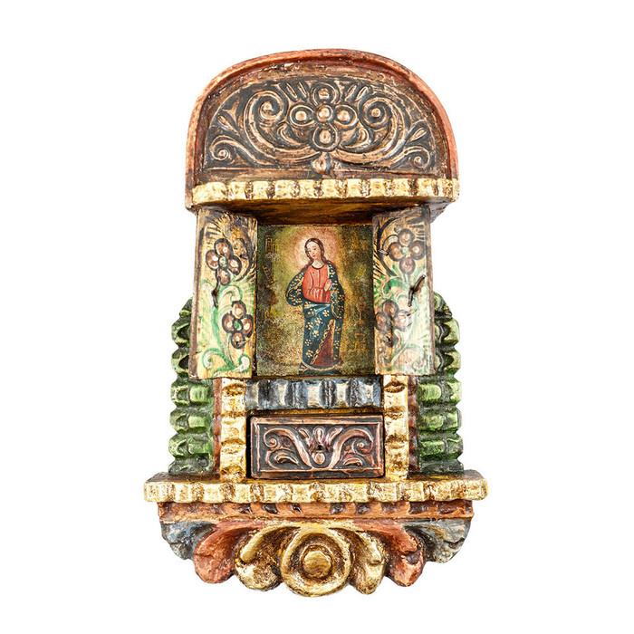 Immaculate Conception Colonial Cuzco Peru Handmade Wood Retablo Art Oil Painting