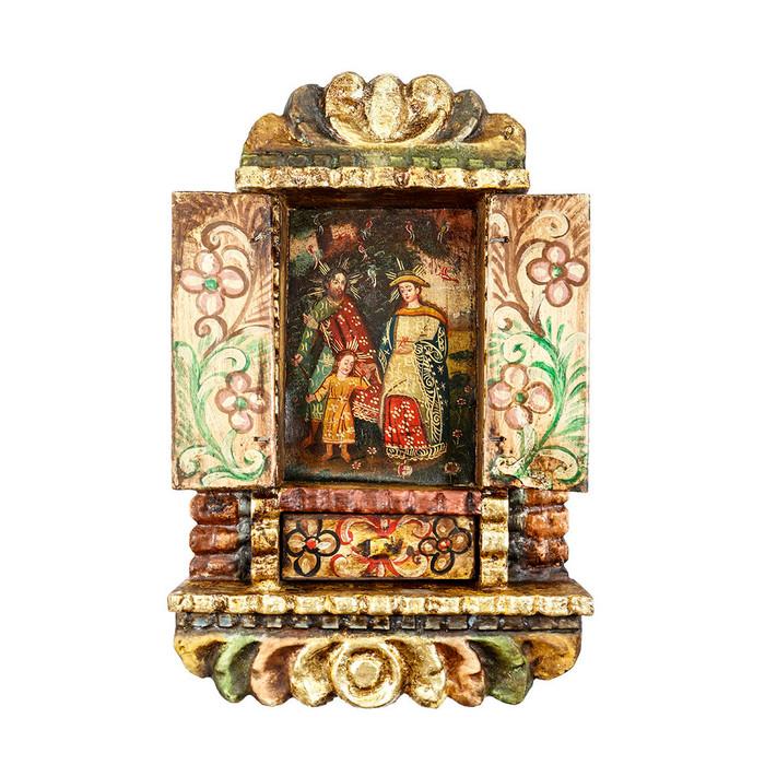 Sacred Family Colonial Cuzco Peru Handmade Wood Retablo Art Framed Oil Painting