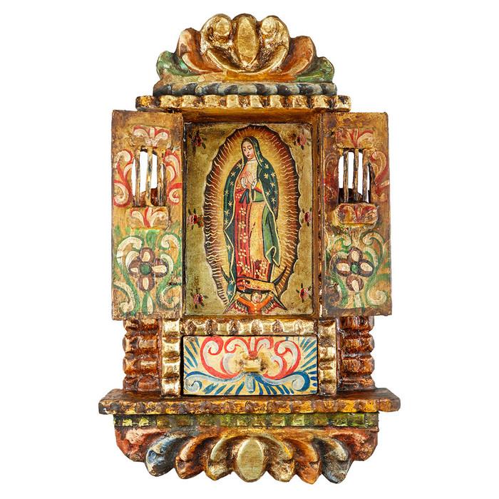 Guadalupe Virgin Colonial Cuzco Peru Handmade Wood Retablo Art Oil Painting