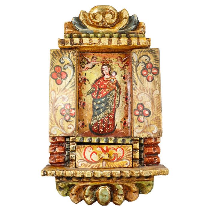 Virgin Crowning Colonial Cuzco Peru Handmade Wood Retablo Framed Oil Painting