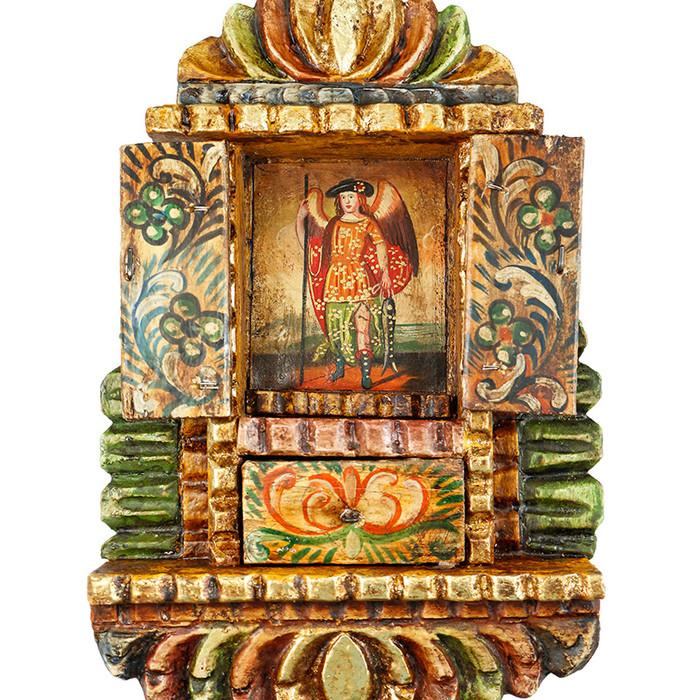 Archangel Angel Raphael Cuzco Peru Handmade Wood Retablo Art Framed Oil Painting