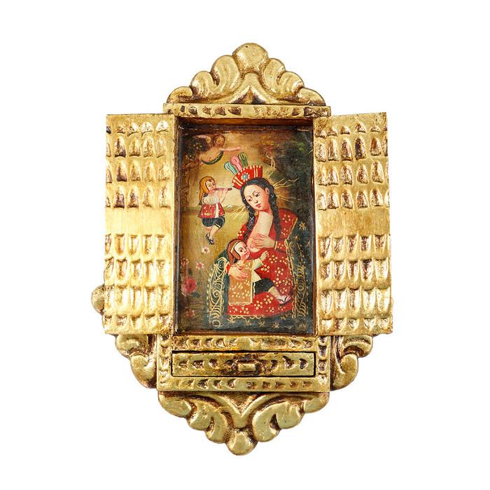 Virgin Of The Milk Colonial Cuzco Peru Handmade Wood Retablo Framed Oil Painting (4421)