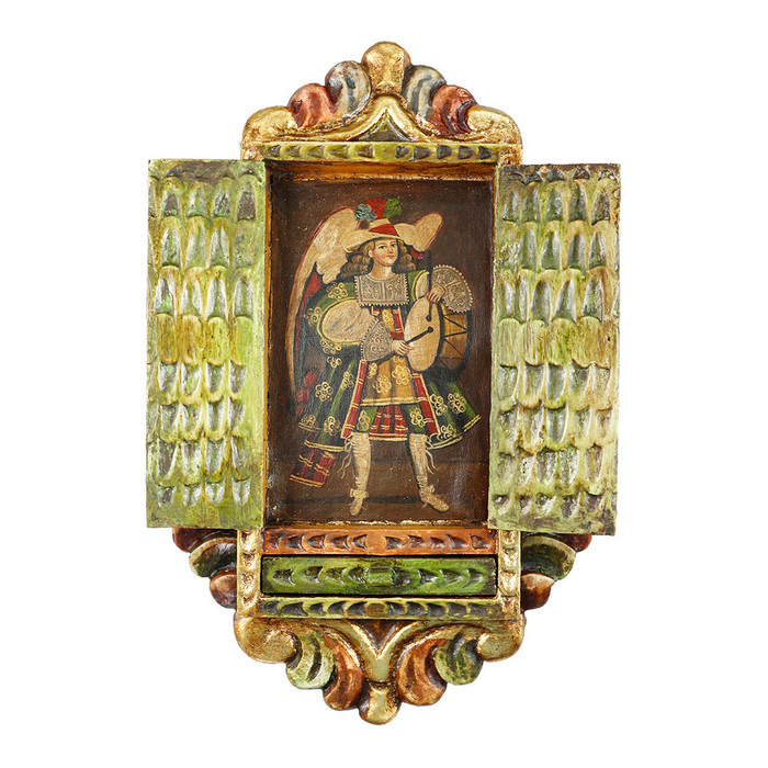 Musician Archangel Colonial Cuzco Peru Handmade Wood Retablo Framed Oil Painting (4418)