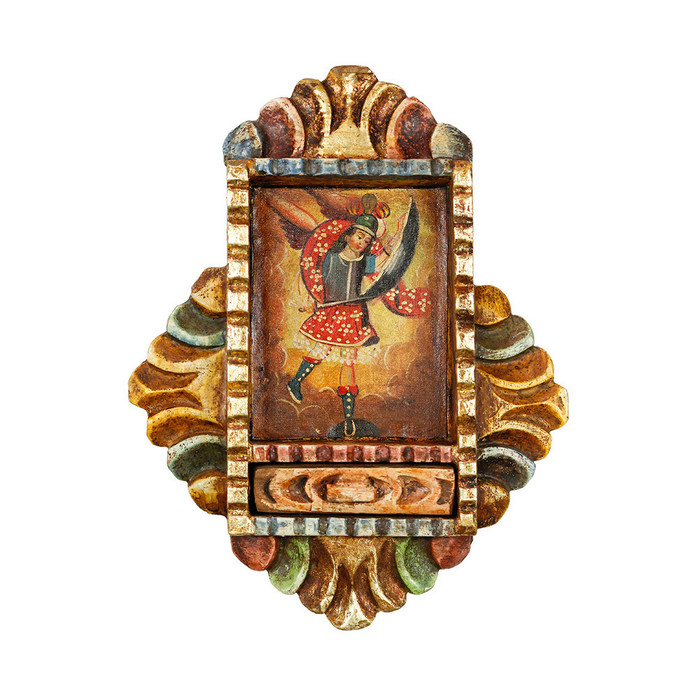 Archangel Saint Michael - Colonial Cuzco Peru Handmade Retablo Folk Art Framed Oil Painting on Canvas Hand Carved Wood Altarpiece