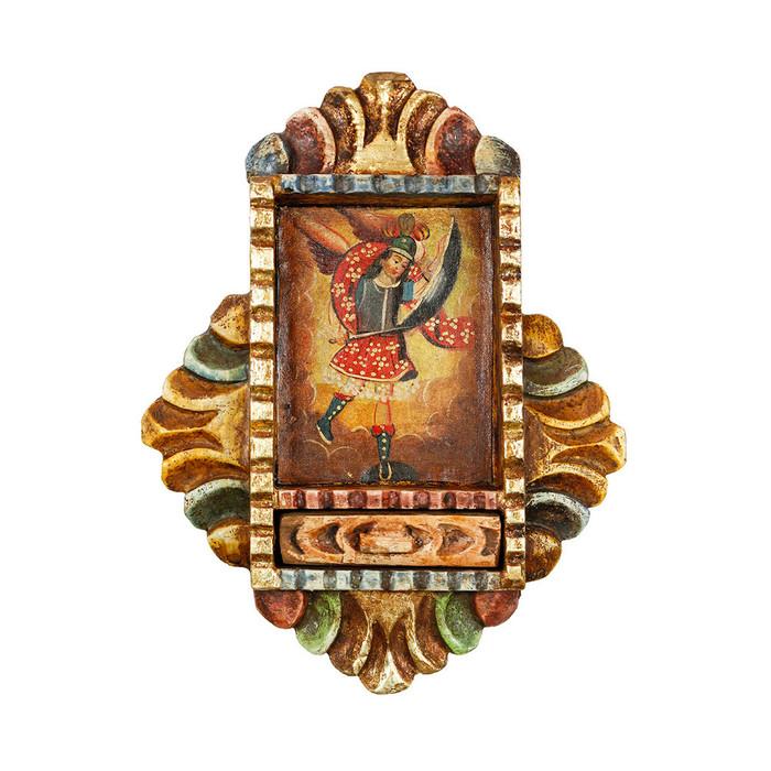 Archangel Saint Michael - Colonial Cuzco Peru Handmade Retablo Folk Art Framed Oil Painting on Canvas Hand Carved Wood Altarpiece