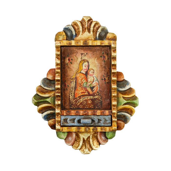 Virgin And Child - Colonial Cuzco Peru Handmade Retablo Folk Art Framed Oil Painting on Canvas Hand Carved Wood Altarpiece