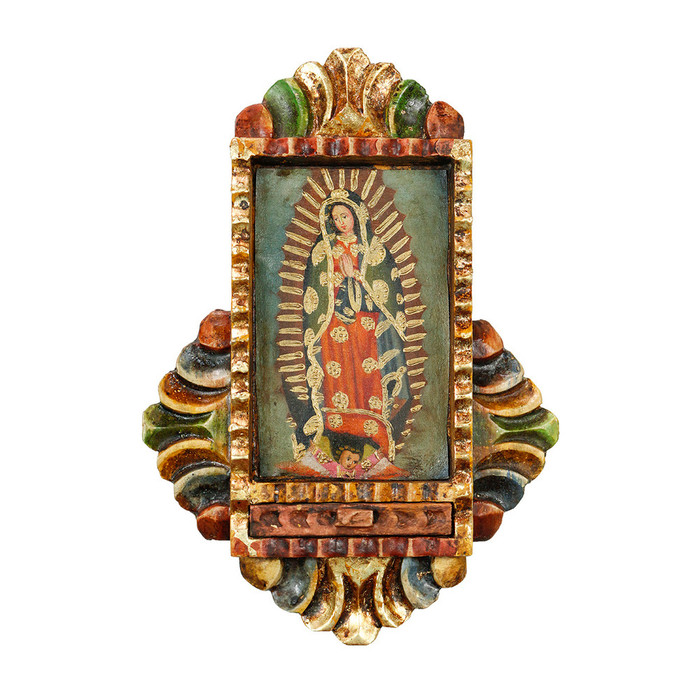 Guadalupe Virgin - Colonial Cuzco Peru Handmade Retablo Folk Art Framed Oil Painting on Canvas Hand Carved Wood Altarpiece 0446