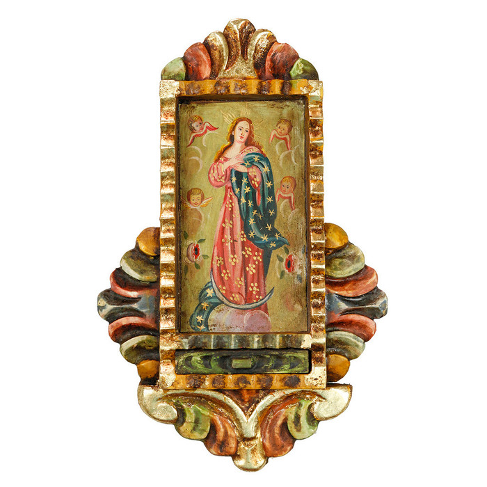 Immaculate Conception - Colonial Cuzco Peru Handmade Retablo Folk Art Framed Oil Painting on Canvas Hand Carved Wood Altarpiece