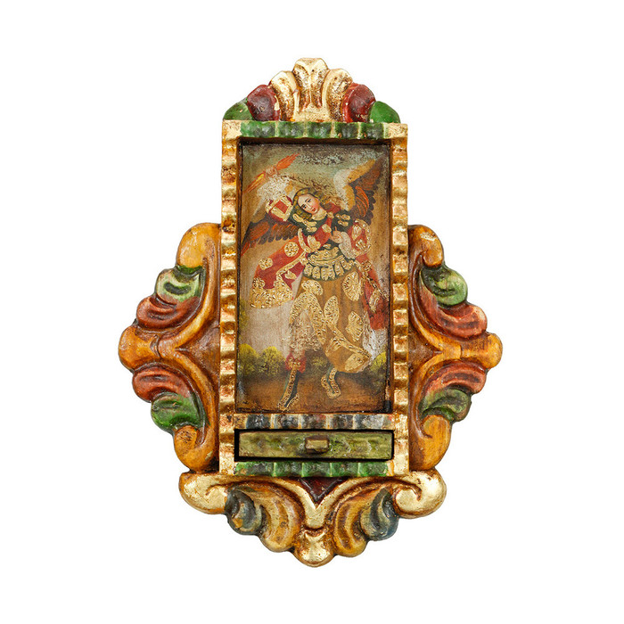 Archangel Zadkiel - Colonial Cuzco Peru Handmade Retablo Folk Art Framed Oil Painting on Canvas Hand Carved Wood Altarpiece