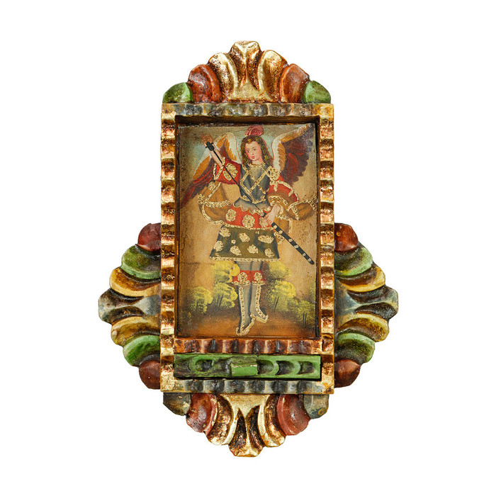 Archangel Adriel - Colonial Cuzco Peru Handmade Retablo Folk Art Framed Oil Painting on Canvas Hand Carved Wood Altarpiece