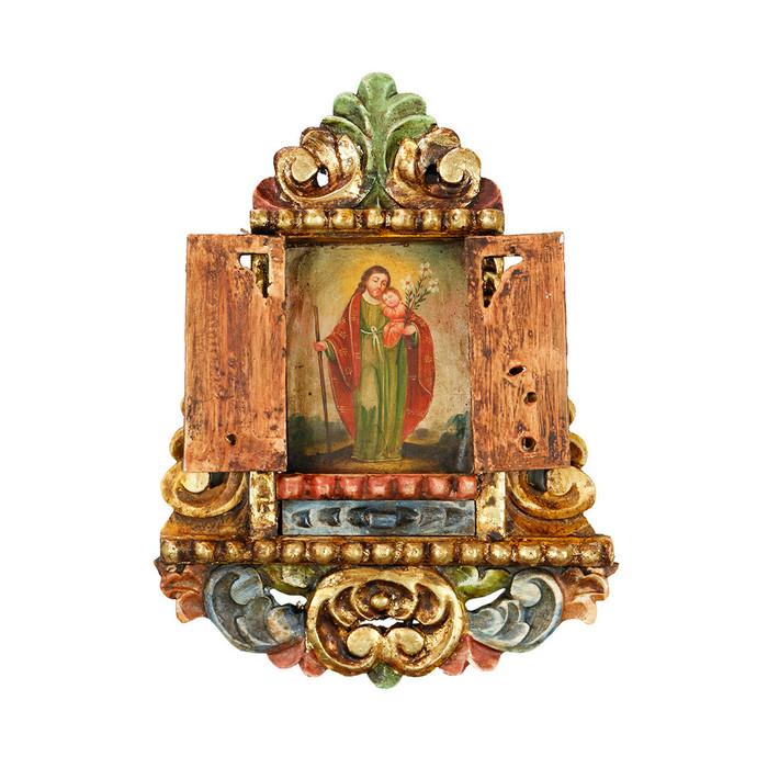 Saint Joseph And Child - Colonial Cuzco Peru Handmade Retablo Folk Art Framed Oil Painting on Canvas Hand Carved Wood Altarpiece