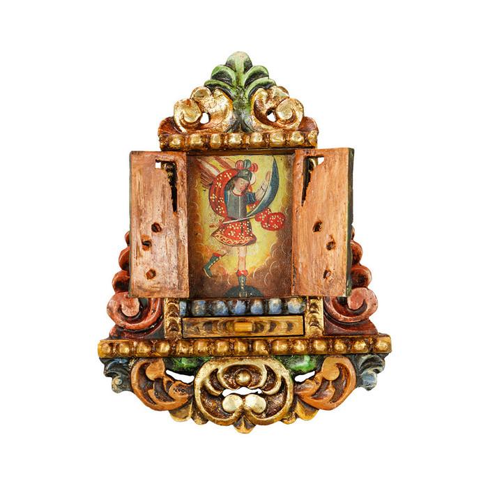 Archangel Michael - Colonial Cuzco Peru Handmade Retablo Folk Art Framed Oil Painting on Canvas Hand Carved Wood Altarpiece 04464
