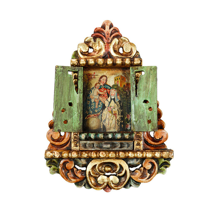 Virgin Mary And Saint Rose - Colonial Cuzco Peru Handmade Retablo Folk Art Framed Oil Painting on Canvas Hand Carved Wood Altarpiece