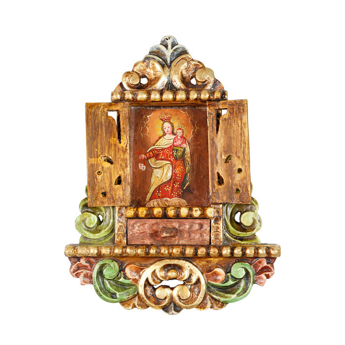 Virgin Of Mercy - Colonial Cuzco Peru Handmade Retablo Folk Art Framed Oil Painting on Canvas Hand Carved Wood Altarpiece 04468