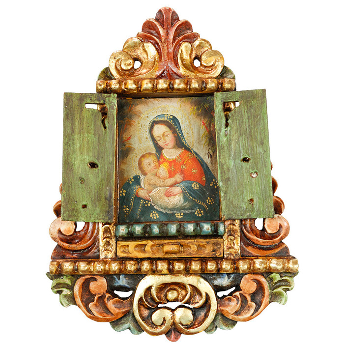 Virgin Of The Milk - Colonial Cuzco Peru Handmade Retablo Folk Art Framed Oil Painting on Canvas Hand Carved Wood Altarpiece 04472