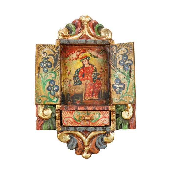 Divine Shepherdess - Colonial Cuzco Peru Handmade Retablo Folk Art Framed Oil Painting on Canvas Hand Carved Wood Altarpiece