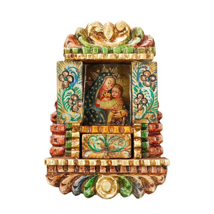 Virgin And Child - Colonial Cuzco Peru Handmade Retablo Folk Art Framed Oil Painting on Canvas Hand Carved Wood Altarpiece 04477