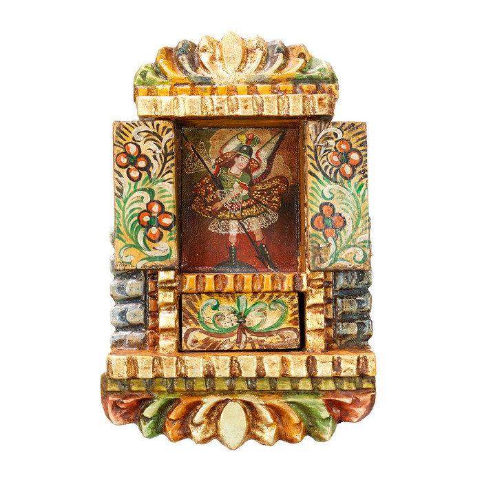 Archangel Michael - Colonial Cuzco Peru Handmade Retablo Folk Art Framed Oil Painting on Canvas Hand Carved Wood Altarpiece 04484