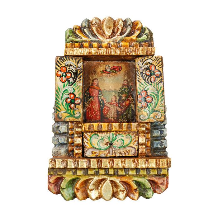Sacred Family - Colonial Cuzco Peru Handmade Retablo Folk Art Framed Oil Painting on Canvas Hand Carved Wood Altarpiece 04485