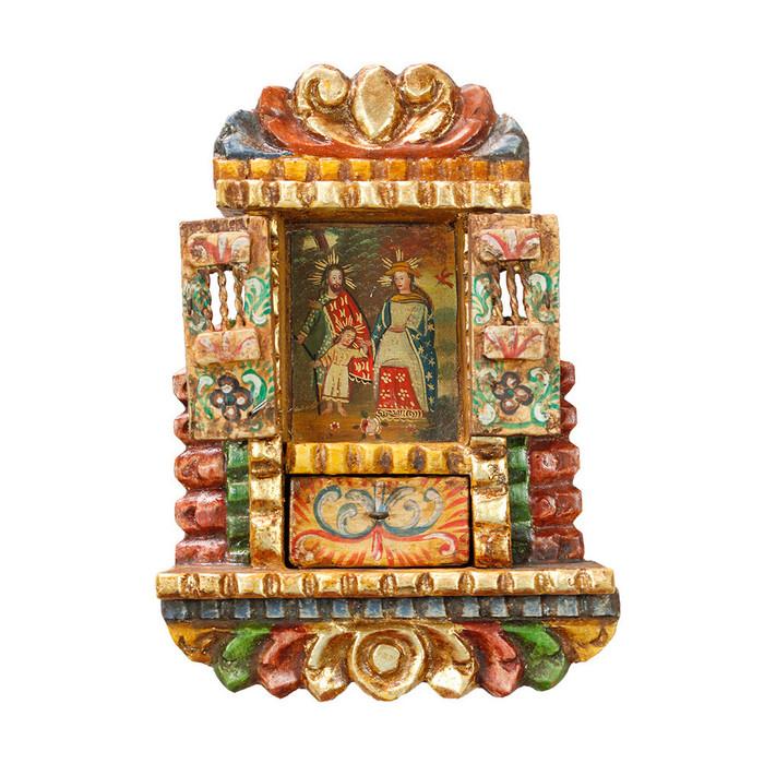 Sacred Family - Colonial Cuzco Peru Handmade Retablo Folk Art Framed Oil Painting on Canvas Hand Carved Wood Altarpiece 04495