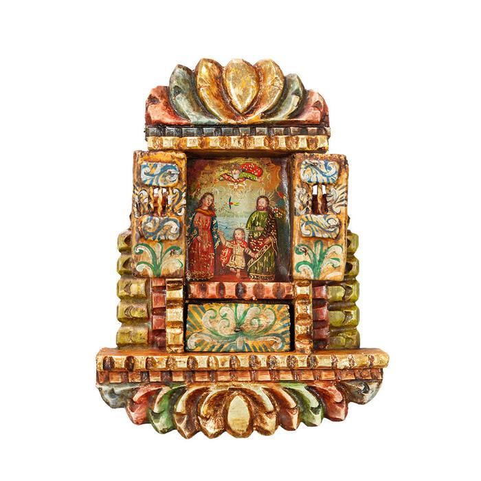 Sacred Family - Colonial Cuzco Peru Handmade Retablo Folk Art Framed Oil Painting on Canvas Hand Carved Wood Altarpiece 04496