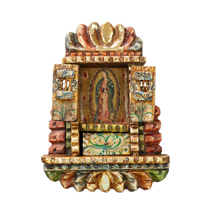 Guadalupe Virgin - Colonial Cuzco Peru Handmade Retablo Folk Art Framed Oil Painting on Canvas Hand Carved Wood Altarpiece 04497