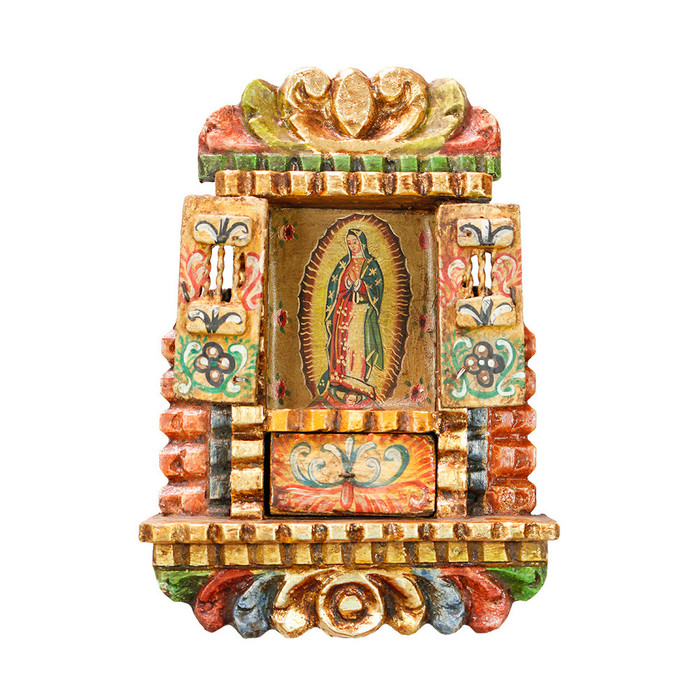 Guadalupe Virgin - Colonial Cuzco Peru Handmade Retablo Folk Art Framed Oil Painting on Canvas Hand Carved Wood Altarpiece 04498