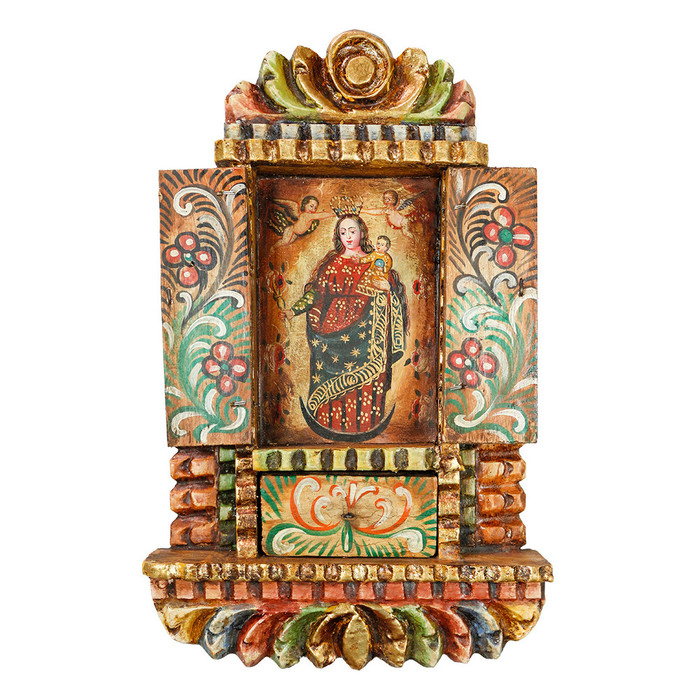 Virgin And Child - Colonial Cuzco Peru Handmade Retablo Folk Art Framed Oil Painting on Canvas Hand Carved Wood Altarpiece 04500