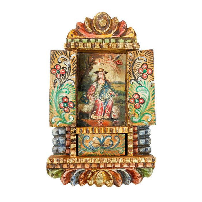 Divine Shepherdess Peru Handmade Retablo Folk Art Oil Painting Wood Altarpiece