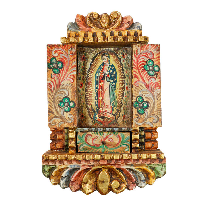 Guadalupe Virgin Peru Handmade Retablo Folk Art Oil Painting Wood Altarpiece
