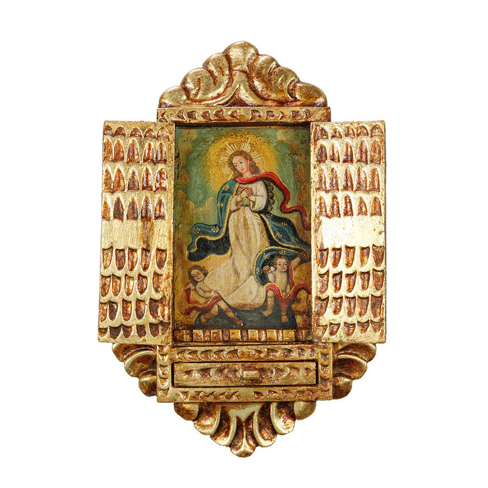 Immaculate Lady Peru Handmade Retablo Folk Art Oil Painting Wood Altarpiece (4474)