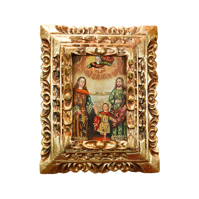 Sacred Holy Family Framed Handcarved Cuzco Peru Folk Art Oil Painting on Canvas