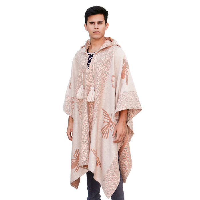 Mens Alpaca Wool Hooded Knit Yarn Cape Coat Poncho - Nazca Lines Design