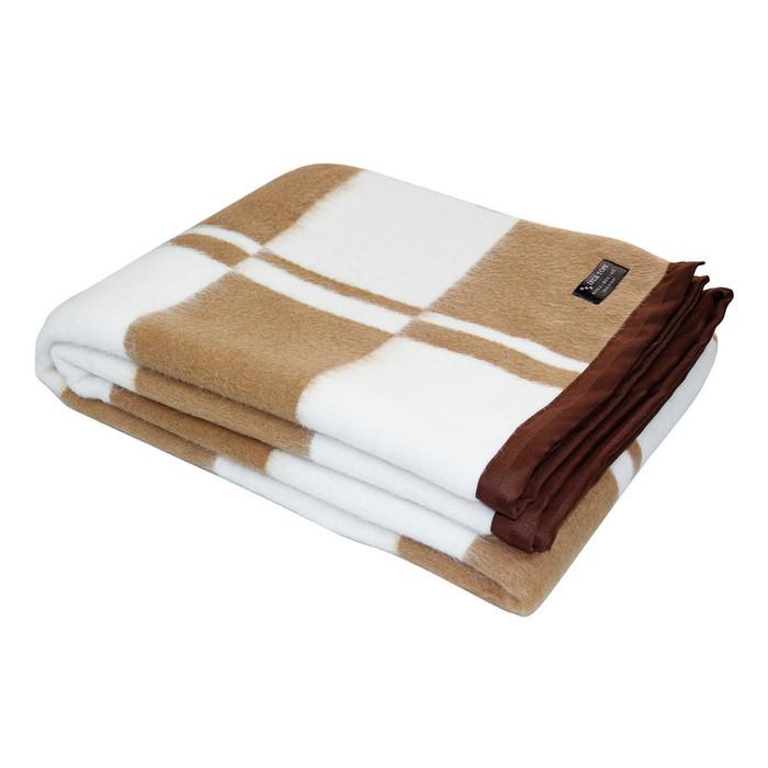 "Alpaca Wool Blend Woven Blanket Throw With Trim Checkered Design - 79"" x 60"""