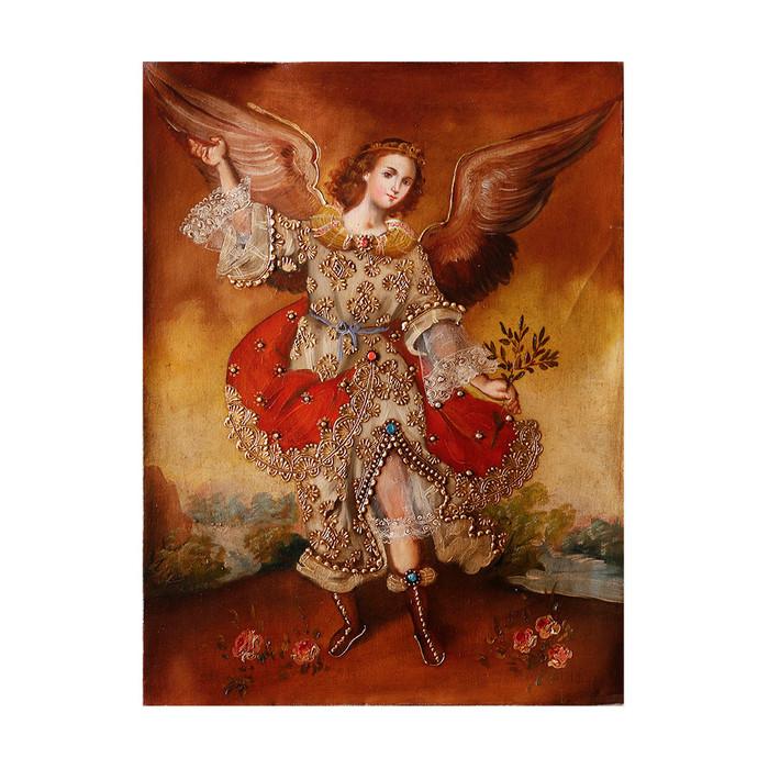 "Archangel Ariel Original Colonial Cuzco Peru Folk Art Oil Painting On Canvas 16"" x 12"" (30-100-07300)"