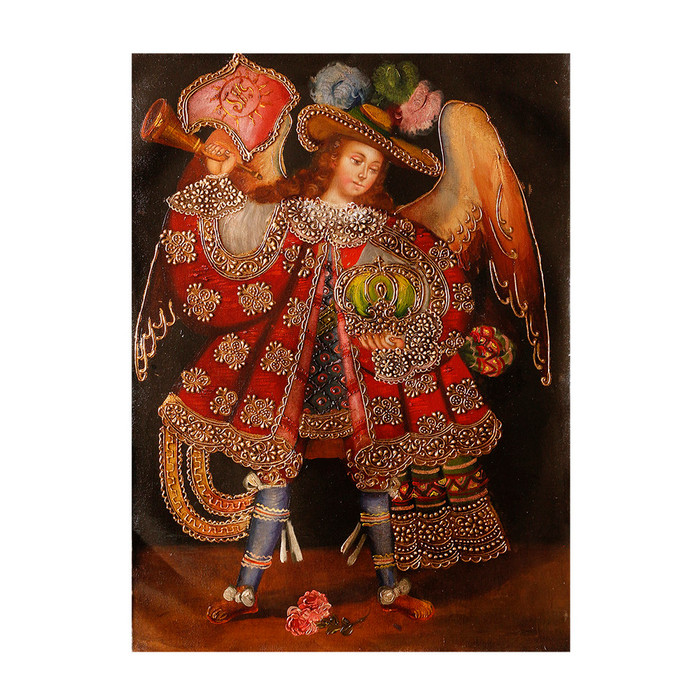 "Military Archangel Original Colonial Cuzco Peru Folk Art Oil Painting On Canvas 16"" x 12"" (30-100-07302)"
