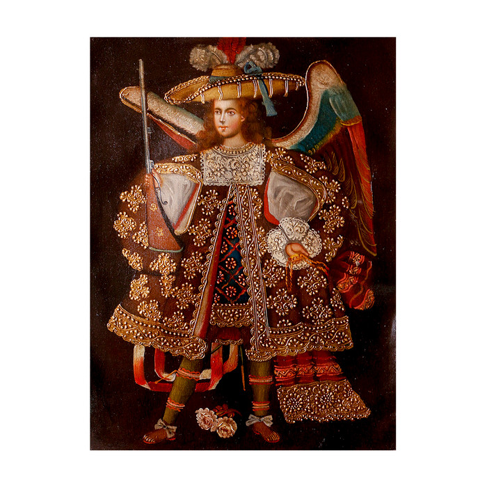 "Military Archangel Original Colonial Cuzco Peru Folk Art Oil Painting On Canvas 16"" x 12"" (30-100-07318)"