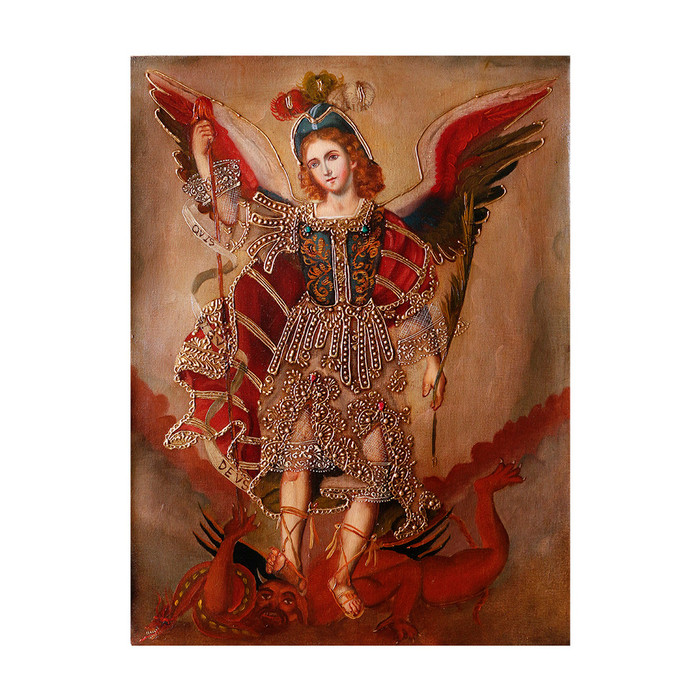 "Archangel Michael Original Colonial Cuzco Peru Folk Art Oil Painting On Canvas 16"" x 12"" (30-100-07306)"