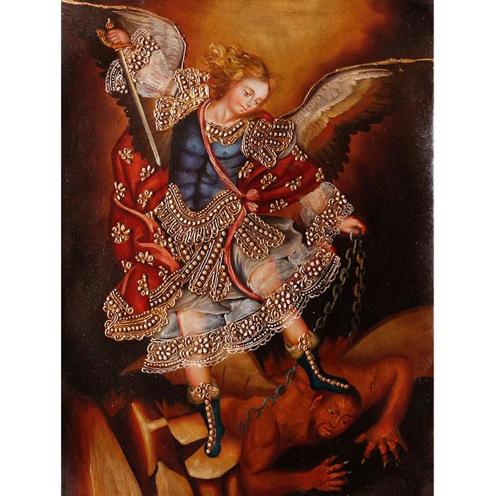 "Archangel Michael Original Colonial Cuzco Peru Folk Art Oil Painting On Canvas 16"" x 12"" (30-100-07308)"