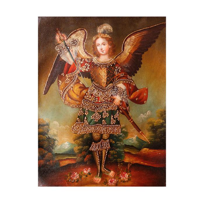 """Archangel Adriel Original Colonial Cuzco Peru Folk Art Oil Painting On Canvas 16"""" x 12"""" (30-100-07317)"""