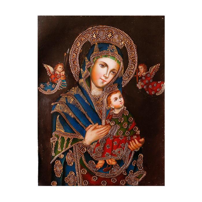 "Perpetual Help Virgin Original Colonial Cuzco Peru Folk Art Oil Painting On Canvas 16"" x 12"" (30-100-07336)"