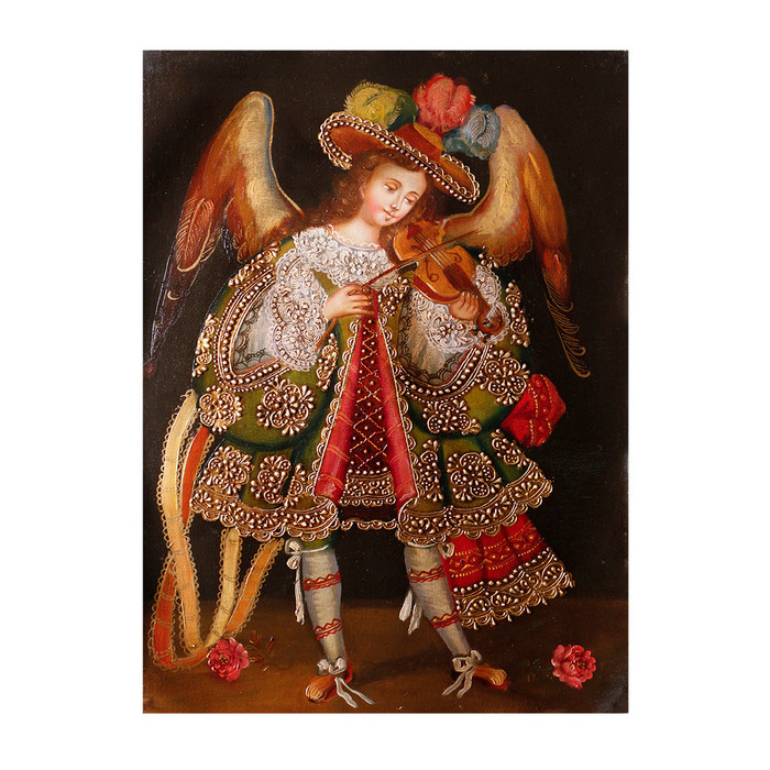 "Musicial Archangel Original Colonial Cuzco Peru Folk Art Oil Painting On Canvas 16"" x 12"" (30-100-07332)"