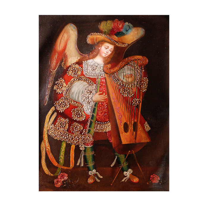 "Musicial Archangel Original Colonial Cuzco Peru Folk Art Oil Painting On Canvas 16"" x 12"" (30-100-07334)"