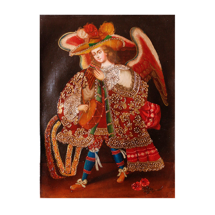 "Musicial Archangel Original Colonial Cuzco Peru Folk Art Oil Painting On Canvas 16"" x 12"" (30-100-07337)"
