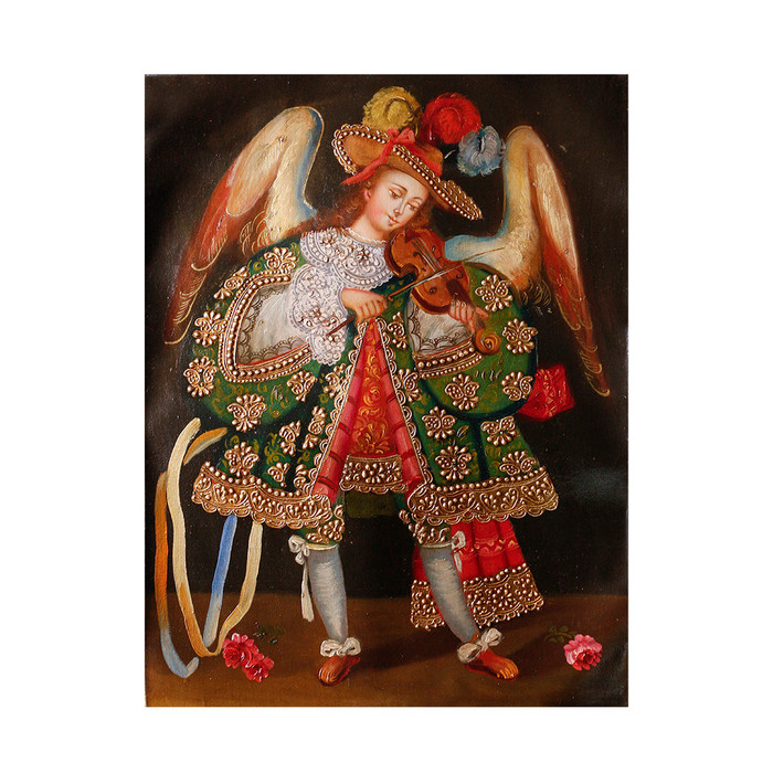 "Musicial Archangel Original Colonial Cuzco Peru Folk Art Oil Painting On Canvas 16"" x 12"" (30-100-07338)"