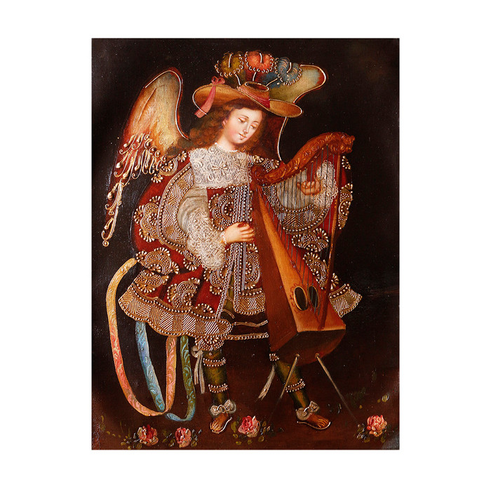 "Musicial Archangel Original Colonial Cuzco Peru Folk Art Oil Painting On Canvas 16"" x 12"" (30-100-07339)"