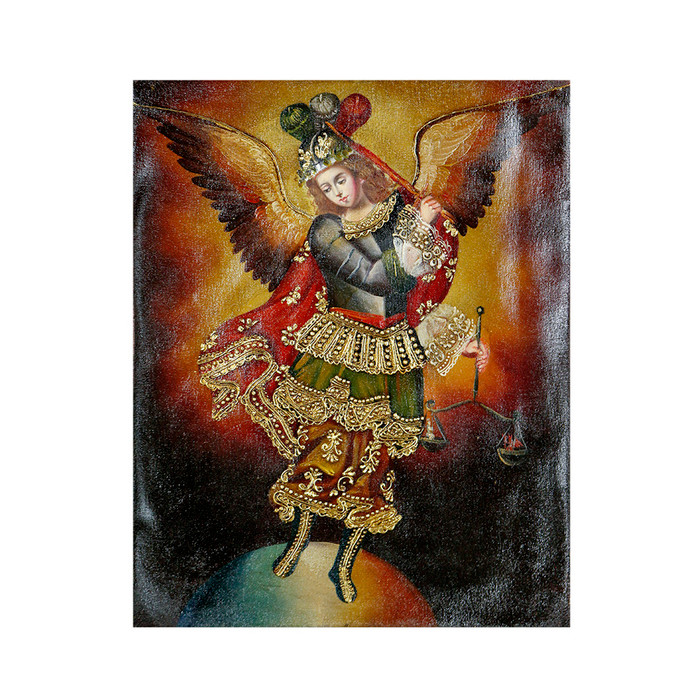"Archangel Michael Original Colonial Cuzco Peru Folk Art Oil Painting On Canvas 10"" x 8"" (30-100-07217)"