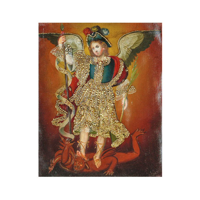 "Archangel Michael Original Colonial Cuzco Peru Folk Art Oil Painting On Canvas 10"" x 8"" (30-100-07218)"