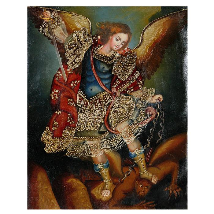 "Archangel Michael Original Colonial Cuzco Peru Folk Art Oil Painting On Canvas 10"" x 8"" (30-100-07220)"